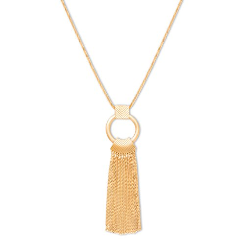 Steve Madden Gold Metal Tribal Fringe Pendant Necklace, 35