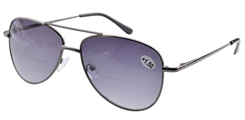 Eyekepper Rubber Painted Temple Pilot Rimless Bifocal Sunglasses (1502 Grey Lens, 3.00)