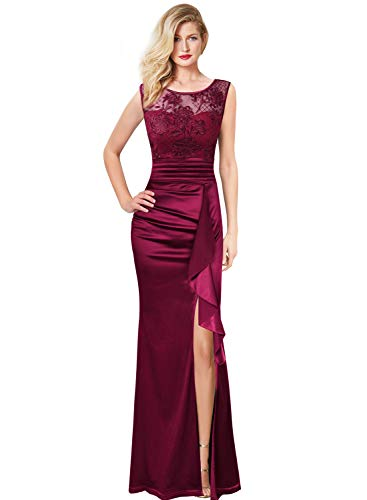 (VFSHOW Womens Formal Ruched Ruffles Embroidered Evening Wedding Maxi Dress 666 RED)