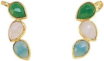Pendientes Judit Trepador Verde, Piedra Lunar y Azul Claro