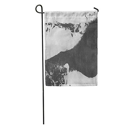 Semtomn Garden Flag Abstract Ink Marble Black Paint Stroke on White Mud Macro Home Yard House Decor Barnner Outdoor Stand 12x18 Inches Flag