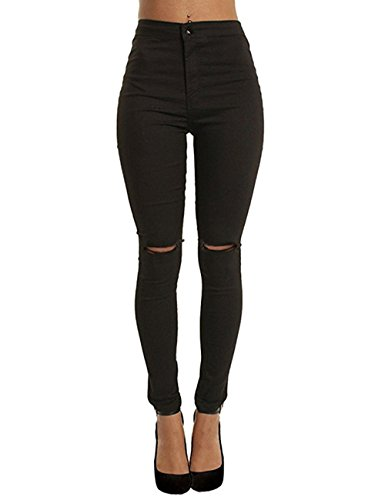 Flying Rabbit Women Classic High Waisted Jegging Ripped Knee Stretchy Skinny Pants - Slim Pencil Radish Pants (Large, - Black Distressed