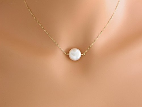 Gold Pearl Necklace, Coin Pearl Jewelry, Idea Gift for Bridesmaid, Mother's Necklace, Wedding Bridesmaid Jewelry, Simple Jewelry, christmas gift for mom, gold necklace