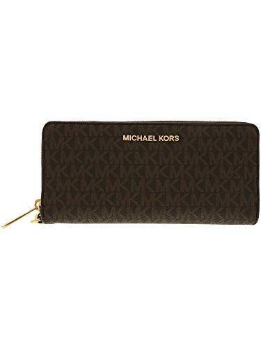 Michael Kors Jet Set Travel Monogram Zip Around Travel Wallet Wristlet (Brown 2018)