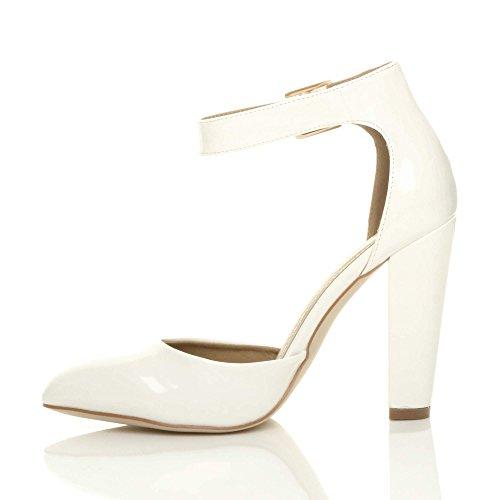 Large Chaussures Pointure Haute Verni Boucle Talon Ajvani Escarpins Blanc Femmes Pointu Lanière OExwZ