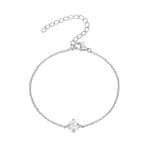 (PAVOI 14K Gold Plated Simulated Solitaire Diamond Bracelet - White)