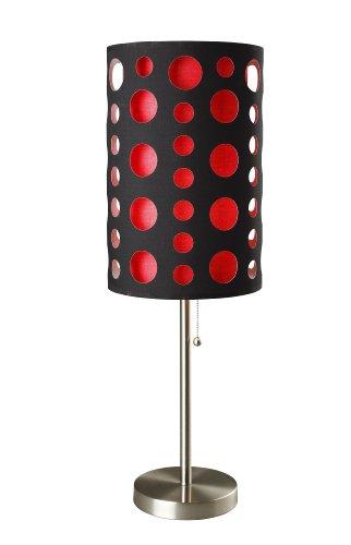 Ore International 9300T-BK-RD Modern Retro Table Lamp, 33-Inch, Black Red