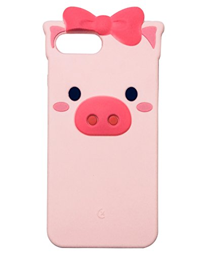 iPhone 8 Plus Case, iPhone 7 Plus Case, TopFunny 3D Silicone Cute Bowknot Cartoon Animals Soft TPU Rubber Bumper Protective Gel Cover Shockproof Case for Apple iPhone 8 Plus/7 Plus 5.5 Pink Pig