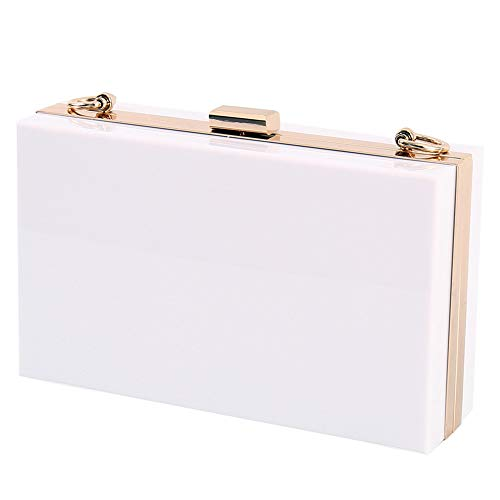 (L-COOL Fashionable Transparent Acrylic Shoulder Bag Clear Crossbody Evening Clutch Bag With Gold Chain Shoulder Strap For Women (White))