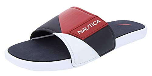 Nautica Men's Athletic Slide, Strap Comfort Sandal-Gantry-Red/White/Navy-8