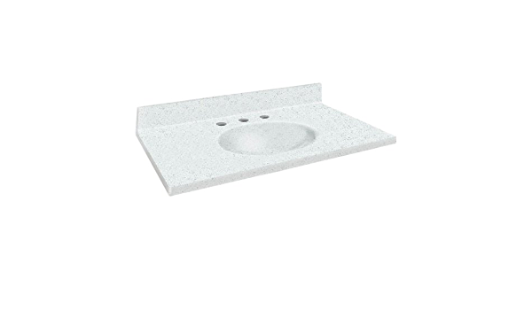 Matrix White Samson ITB3122-50-1 Solid Surface 31x22 Chelsea Vanity Top with Integral Bowl and 1-Hole Eased Edge