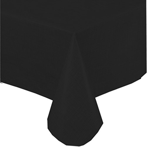 Premium Solid Color Vinyl Flannel Backed Tablecloth 52 x 70 Inch Oblong - Black -