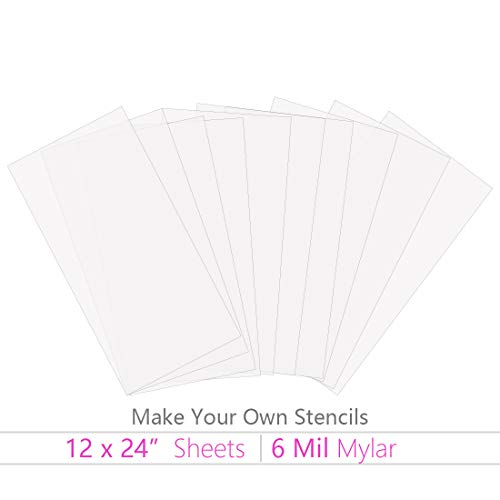 KOMIWOO 10 Pack 6 mil Blank Stencil Making Sheets 12 x 24 inch Ideal Use Cricut & Silhouette Machines(Mylar Material) by KOMIWOO
