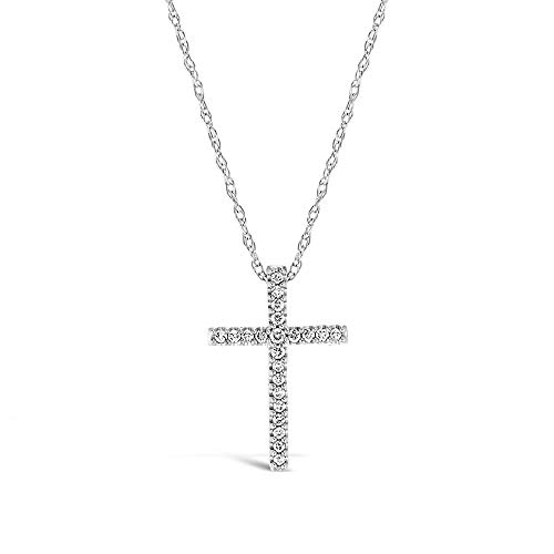 Brilliant Expressions .925 Sterling Silver 1/10 Cttw Conflict Free Diamond Cross Adjustable Pendant Necklace (I-J Color, I2-I3 Clarity), 16-18 inch