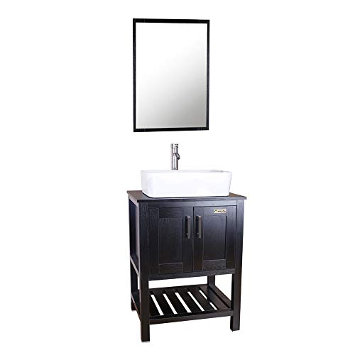 U-Eway 24 Inch Black Bathroom Vanity Cabinet W/Mirror,Square Ceramic Sink Combo W/Chrome Faucet, Bathroom Vanity Top With Porcelain White Sink Combo