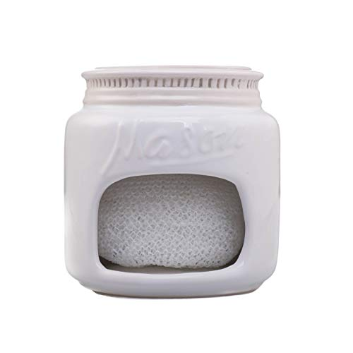 White Ceramic Mason Jar Kitchen Sponge Holder – Adorable Home Retro & Farmhouse Kitchen Decor | Amazing Rustic Accessory | Vintage Gift for Friends, Family and Collectors by Goodscious