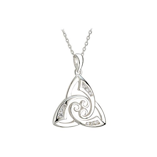 "Irish Knot Necklace Silver & CZ Twist 18"" Chain Made in Ireland"