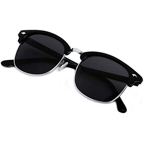 (Polarized Sunglasses for Men Women Classic Half Frame Semi Rimless ANDWOOD Polarized Uv)