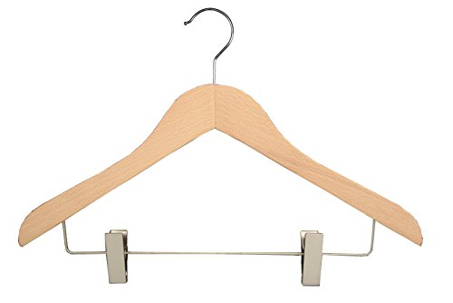 17 Concave Executive Series NAHANCO 2007-16N Wooden Coordinate Hanger 17 Concave Executive Series Pack of 50 Low Gloss Natural Finish and Bright Chrome Hardware