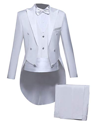 Sebaby Men's Moderator Classic Fit Tailcoat Flat Front Pants 2pcs White L Acetate Flat Front Pants