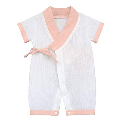 Infant Kimono - PAUBOLI Baby Kimono Robe Newborn Cotton Yarn Bodysuit Romper Infant Japanese Pajamas 0-24 Months (0-3 Months, Pink)