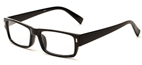 Readers.com The Althorpe +2.25 Black Rectangular Wide Frame Cheater Glasses Rectangle Reading - Frame Glasses Wide Reading