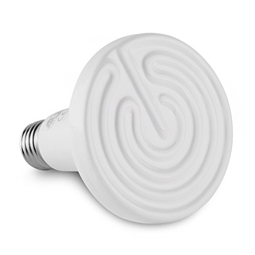 Floureon Ceramic Infrared Bulb Heat Emitter Reptile Lamp 110V 10,000 Hours Long Life Light Bulb, White(100W)