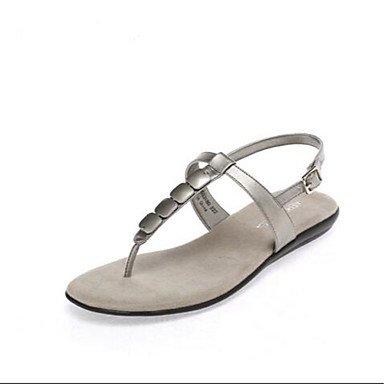 YFF Sandales femmes Talon occasionnels en PU Gris,NOUS,6.5-7 / EU37 / UK4,5-5 / CN37