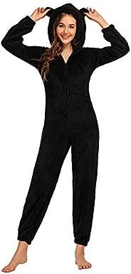 Amiliashp Womens Cute Sherpa Jumpsuit Fleece Onesie Fuzzy Pajama Plush Hooded Romper Sleepwear Playsuit Tracks