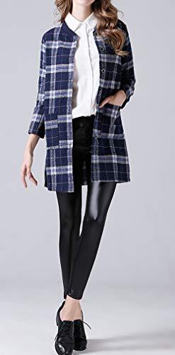 Lungo Cappotto Parka Blu Lunga Jacket Casual Donne Quadri Con Tops Manica Cime Bottoni Outerwear Giacca Moda Coat Bluse Camicie gqpzA6Z