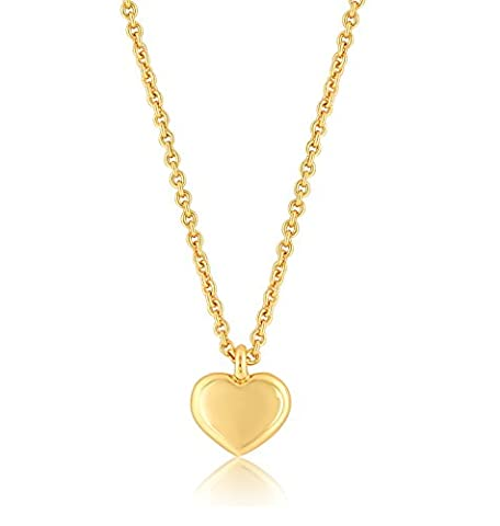 Heart Necklace, Heart Pendant Necklace, 24K Gold Plated ,16