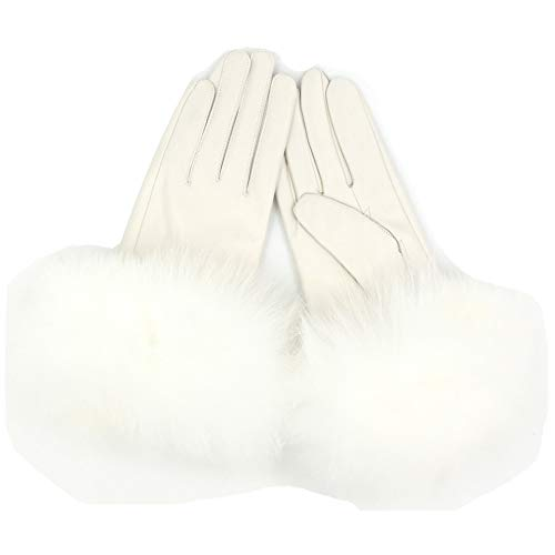 Sandy Ting Winter Women's Lambskin Leather Gloves With Fox Fur Trim Multicolor