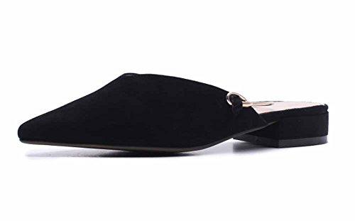 dimensioni estate con Le puntavano Black primavera moda pantofole di donne tacco piccole fresche maglie 2018 sandali grandi basso qXxa8q
