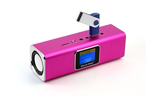 MusicMan MA Soundstation/Stereo Lautsprecher mit integriertem Akku und LCD Display (MP3 Player, Radio, Micro-SD Kartenslot, USB Steckplatz) pink