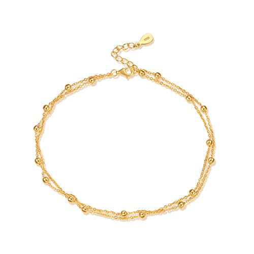 18k Gold over Sterling Silver Anklet - Beaded Chain Double Strand Ankle Bracelet (Chain Beaded Double)