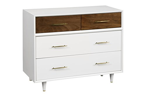 Babyletto Eero 4-Drawer Assembled Dresser, White/Natural Walnut