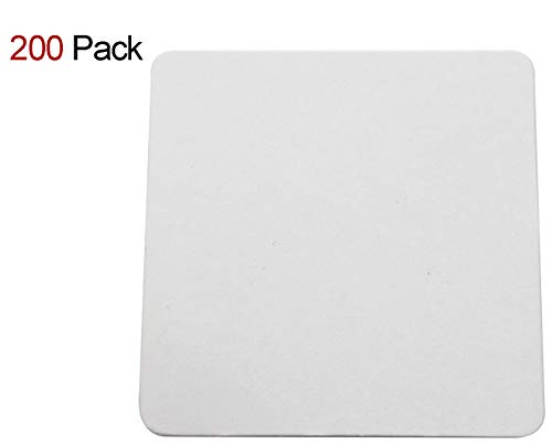 Travelwell Square 4-inch Length and Width Thicker (0.8 MM) Non Slip Drink White Paper Coaster Set - Set of 200