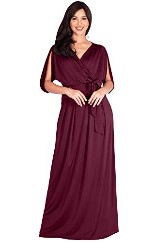 KOH KOH Plus Size Womens Long Semi-Formal Short Sleeve V-Neck Full Floor Length V-Neck Flowy Cocktail Wedding Guest Party Bridesmaid Maxi Dress Dresses Gown Gowns, Maroon Wine Red 2XL 18-20