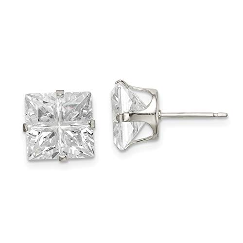 9mm Square Cubic Zirconia 4-Prong Stud Earrings in Sterling Silver