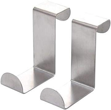 5 unidades colgador acero inoxidable plata sin agujeros gancho para puerta pasillo y dormitorio soporte para chaquetas para cuarto de ba/ño Perchero para puerta con 2 ganchos para toallas
