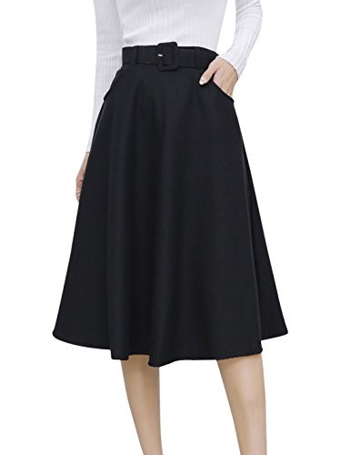 Tanming Women's Elastic Waist A-Line Midi Wool Skater Skirt with Belt (Large, (Elastic Waist Wool Skirt)