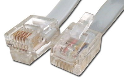 RJ12 6 Conductor Cross Wired Modular Telephone Cable - 15 FT