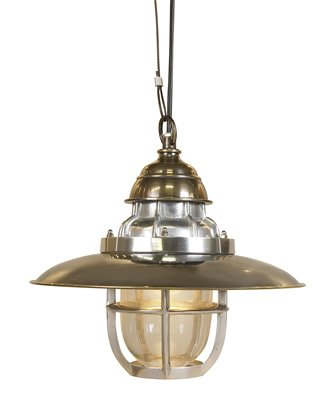 Authentic Reproduced Steamer Deck Pendent Lamp - Made of Solid Brass and Cast Aluminum - Industrial Dome-Glass - 1 Light - Authentic Models SL062