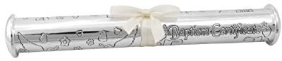 Stephan Baby Silver Plated Engraved Keepsake Baptism Certificate Holder by Stephan Baby