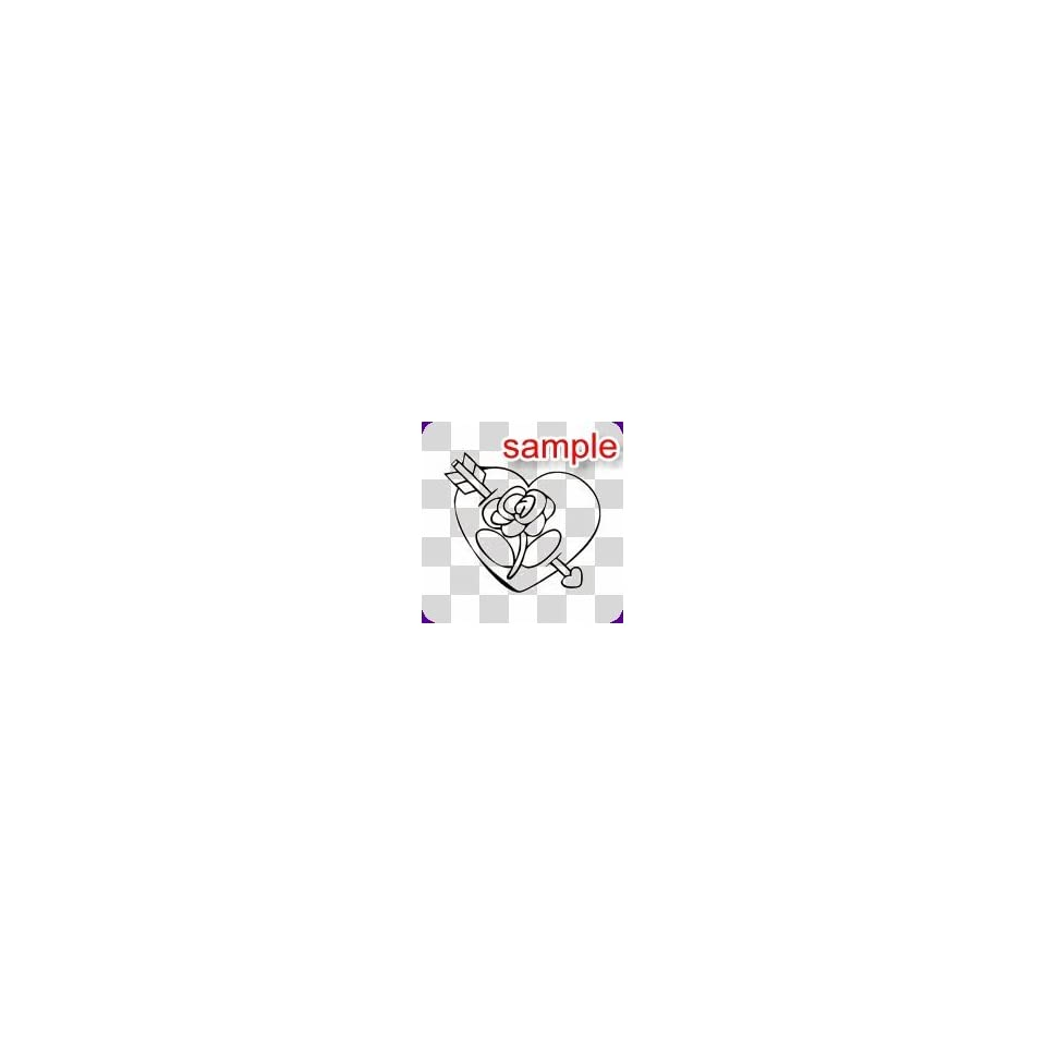 RANDOM HEART ROSE WITH ARROW 10 WHITE VINYL DECAL STICKER