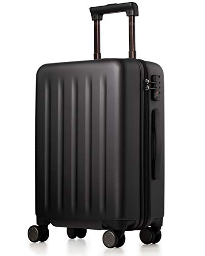 NINETYGO Carry on Luggage 22x14x9 with Spinner Wheels, 100% Polycarbonate Hardside, Lightweight TSA Compliant Hardshell Suitcase for Travel & Business Trip (20-Inch Black)
