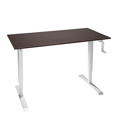 "The Original ModTable Hand Crank Standing Desk Table with Silver Frame + Small Desktop 24"" x 40"" x 3/4"", Espresso (Table Laminate Crank)"