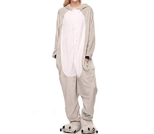 Unisex Cute Koala Actor Holiday Costume Pajamas(Grey-Small)