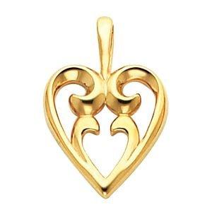 Or jaune 14 carats avec pendentif en forme de cœur-JewelryWeb
