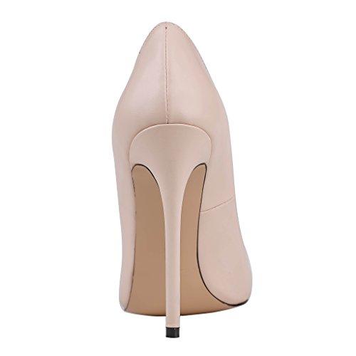 COOLCEPT Zapato Mujer Moda Tacon Ancho alto Sin Cordones Puntiagudo Court Zapatos For Date (32 EU, Black)